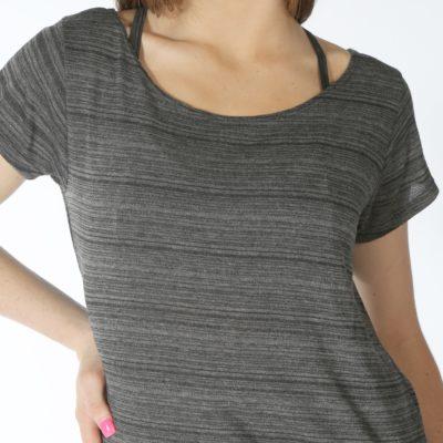 Open Back T Shirt Black Stripe TY1 TY2